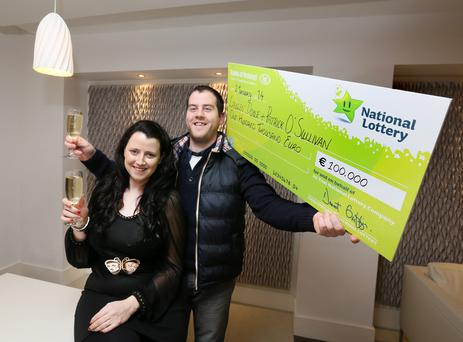 Newly engaged Dublin couple Lauren Doyle and Patrick OSullivan celebrate their €100k winning prize