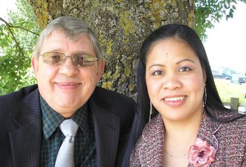 Ron Sheppard, with his eighth wife Weng, who is having his life turned into a film