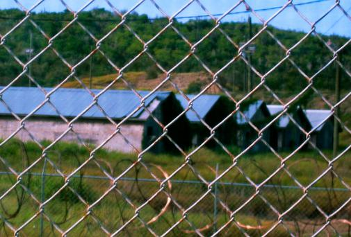 A view of Camp X- Ray in Guantanamo Bay