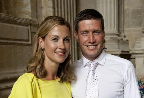 Ronan O'Gara and his wife Jessica. Photo: Mark Condren
