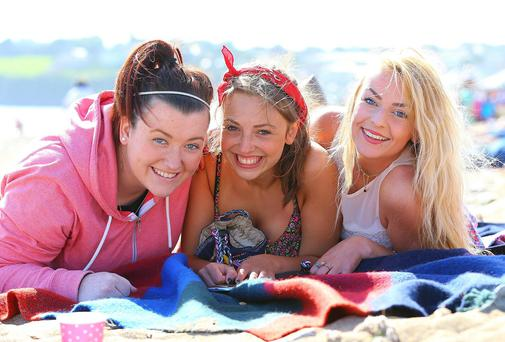Gemma Linehan, Ashlin Reddy and Grace Hanrahan from Tramore werepictured at Tramore Beach during the heatwave in the summer. Picture: Patrick Browne