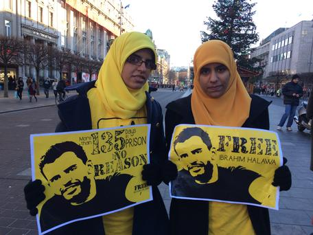 Fatima and Omaima Halawa at a protest for their brother's release.