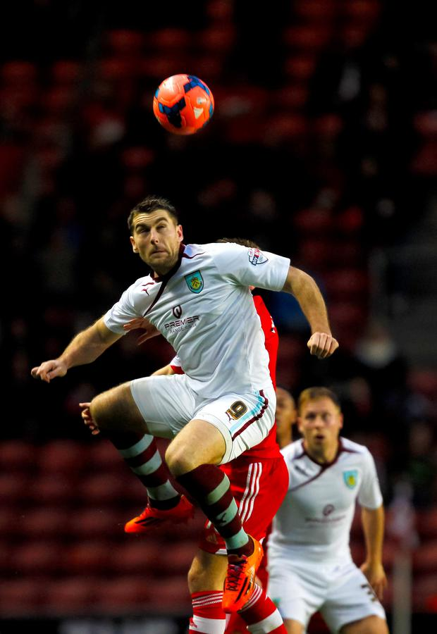 Burnley's Sam Vokes in action against Southampton