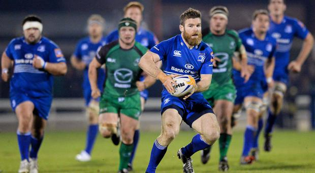 Gordon D'Arcy,, Leinster, makes a break during the game