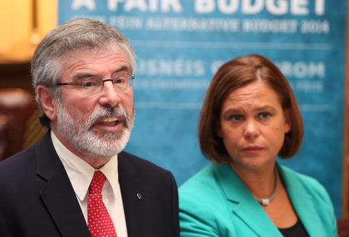 Sein Fein leader Gerry Adams and Mary Lou McDonald, TD, deputy leader of Sein Fein