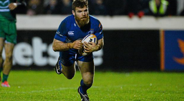 Gordon D'Arcy scores the crucial try as Leinster defeated Connacht at The Sportsground last night. Photo: Diarmuid Greene