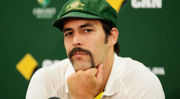 Mitchell Johnson of Australia looks on during a press conference after winning the Ashes series 5-0 during day three of the Fifth Ashes Test match between Australia and Englad