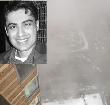 The image tweeted from the 26th floor of a burning building in New York (inset) Mickey Atwal