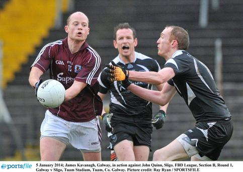 James Kavanagh, Galway, in action against John Quinn, Sligo. FBD League, Section B, Round 1, Galway v Sligo, Tuam Stadium, Tuam, Co. Galway.