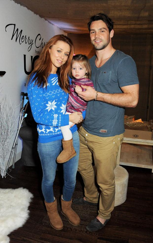 Una Healy, daughter Aoife Belle Foden and Ben Foden attend the launch of the UGG Christmas Grotto at Duke of York Square on November 27, 2013