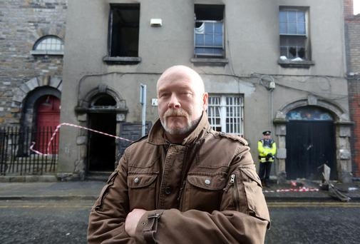 Paul O'Mahony who helped rescue people from a fire at apartments on Thomas Court in Dublin where three adults and five children where rescued. Photo: Arthur Carron/Collins
