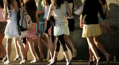 Girls make their way up to the entrance of the Old Wesley Friday night disco in Donnybrook. Photo; Gerry Mooney