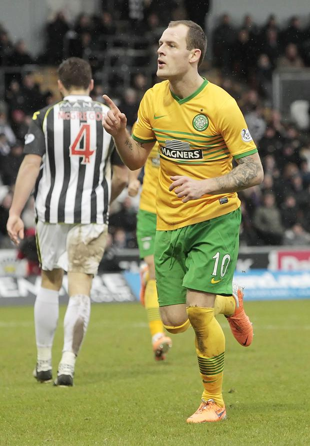 Celtic's Anthony Stokes celebrates his goal during the Scottish Premier League match at St Mirren Park. Photo: Danny Lawson/PA Wire.
