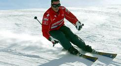 Michael Schumacher skis in northern Italy in this file photo