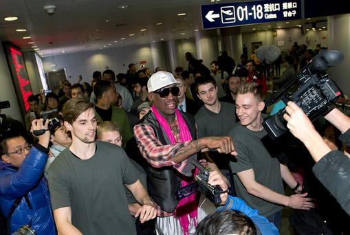 Former NBA basketball player Dennis Rodman at Beijing airport,