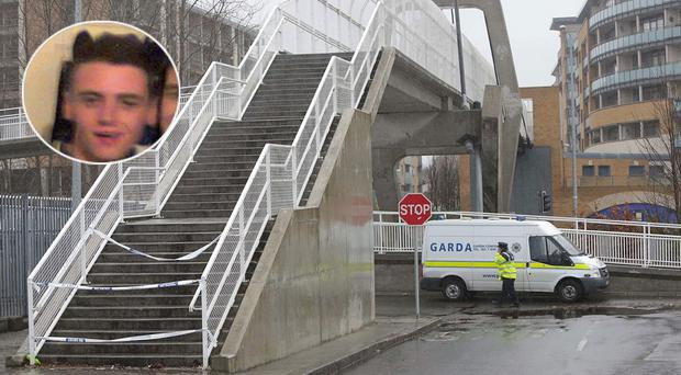 The bridge in Tallaght, inset, Dale Creighton who was attacked on New Year's Day
