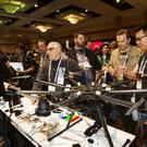 The DJI S1000, an eight-bladed, aerial photography system by DJI Innovations, is displayed during