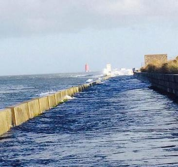 The south wall closed beyong poolbeg. Coast guard in attendence Credit: @GardaTraffic