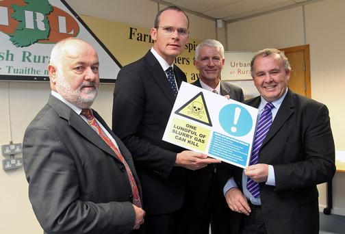 Flashback: Minister for Agriculture Simon Coveney attended the official launch of the Farm Safety Mentorship Programme at the Department of Agriculture, Cavan. Also pictured (from left) are Martin O'Halloran, CEO of the Health and Safety Authority; Vincent Nally, co-ordinator of the Farm Safety Mentor Programme; and Seamus Boland, CEO Irish Rural Link. The programme was initially rolled out in Cavan, Westmeath, Meath and Longford. Photo: Lorraine Teevan