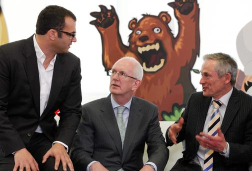 File picture of Marcus Segal, CEO of Game Studio Operations for Zynga; Barry O'Leary, outgoing chief executive, IDA Ireland; and Minister for Jobs, Enterprise and Innovation Richard Bruton at Zynga's Dublin office