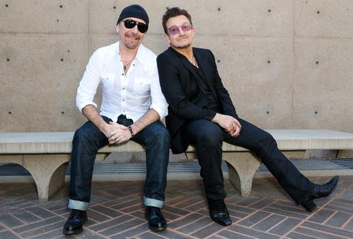 Edge and Bono attend the 25th annual Palm Springs Film Festival at the weekend