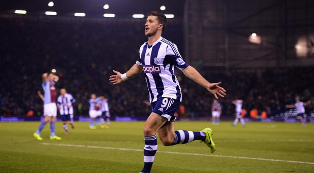 Shane Long of West Bromwich Albion celebrates