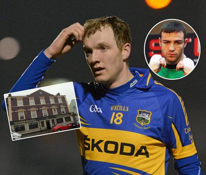 Lar Corbett playing for Tipperary. Inset: Boxer Matthew Macklin and (left) Hayes Hotel