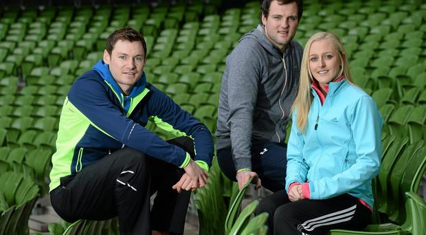 David Gillick, Michael Murphy and Junior Athlete of the Year Sarah Lavin at the launch of Aviva Health Schools' Fitness Challenge 2014. DAVID MAHER / SPORTSFILE