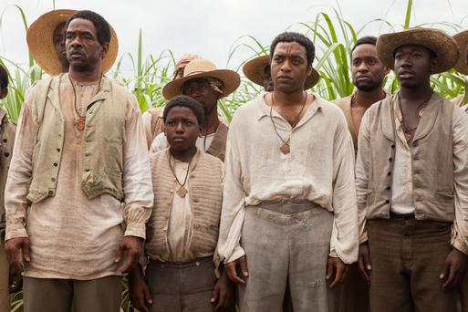 Some of the cast of 12 Years A Slave, including English actor Chiwetel Ejiofor (third from right), who plays Solomon Northup.