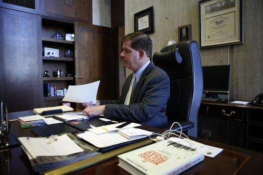 Boston Mayor Martin Walsh pictured on his first day in office. Photo: @BostonGlobe / Twitter