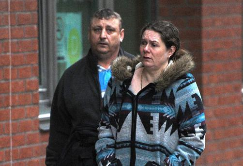 Husband and wife David and Donna Rooke arrive at Sheffield Crown Court