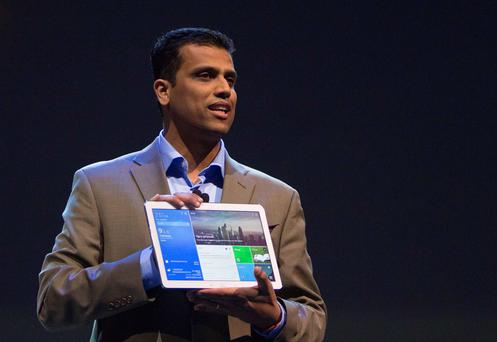 A Samsung executive introduces a new tablet at CES in Las Vegas yesterday