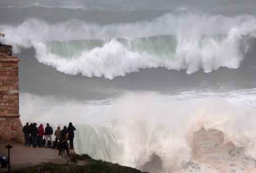 Severe storms have battered Europe's Atlantic coastlines like Nazare in Portugal