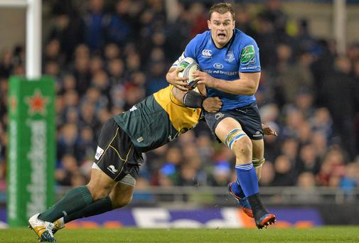 Rhys Ruddock, Leinster, is tackled by Salesi Ma'afu, Northampton Saints