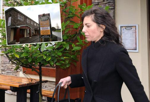 Jennifer Lauren leaving court, which was held (inset) in the Brian Boru pub