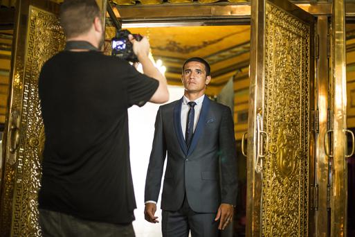 Tim Cahill poses during a Shoreditch shoot at State Theatre on January 8, 2014 in Sydney, Australia.