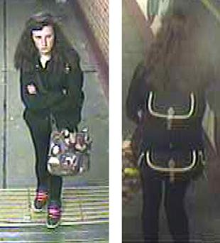 Billie Dickerson, 15, at Woking train station, Surrey, on Monday, as police who are growing increasingly concerned for the missing teenager's welfare