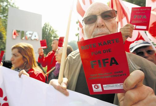 A protest outside the headquarters of FIFA