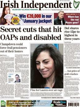 The front page of today's Irish Independent.