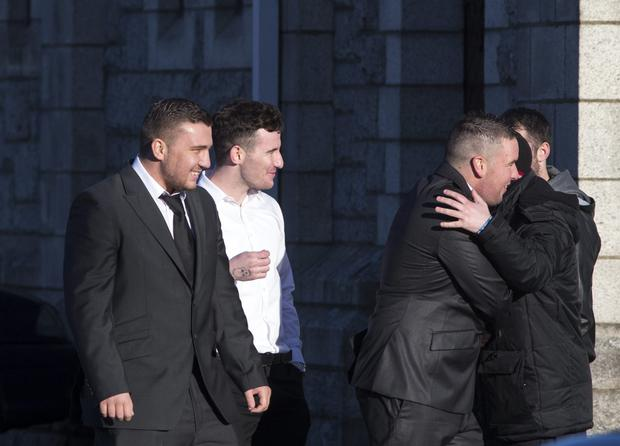 (on left) Sean Turner at the funeral of David Spain at St Anne's church, Shankill. Pic:Mark Condren
