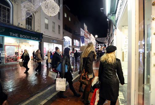 Shopping on Grafton Street: retail sales continue to stagnate.