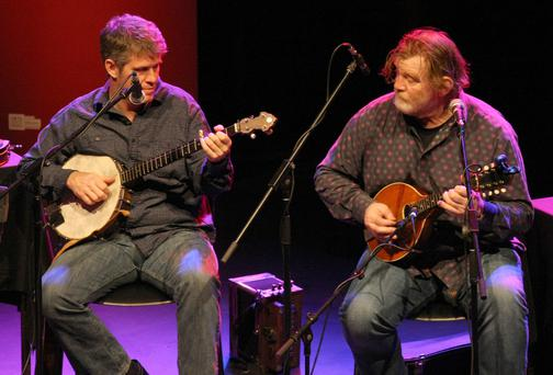 Guitarist Francis Gaffney with Brendan Gleeson at a Music Network performance in Bray. Picture: Mark Doyle
