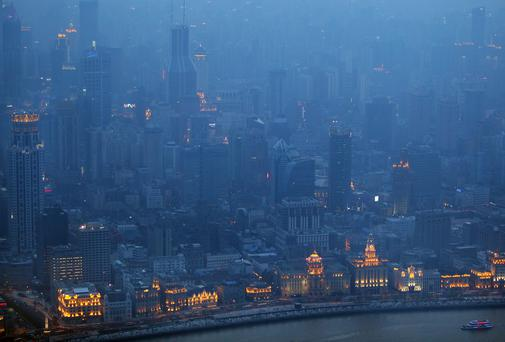 A view of the Bund in Shanghai, China.