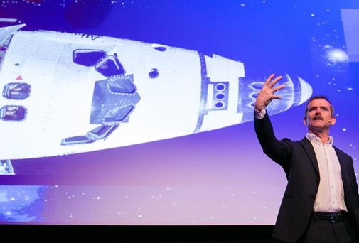 Astronaut Chris Hadfield delivering his keynote address at the Laya Healthcare Pendulum Summit. Picture: NAOISE CULHANE