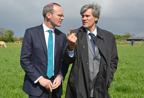 Agriculture Minister Simon Coveney with French Minister for Agriculture Stephane Le Foll. Photo: Barbara Lindberg.