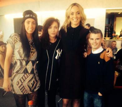 Rapper Jamie Hartigan with Kathryn Thomas and pals Roisin Prendergast (hat) and Samantha Kelly.