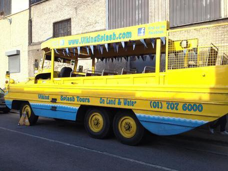 A tour bus for Viking Splash Tours was clamped.