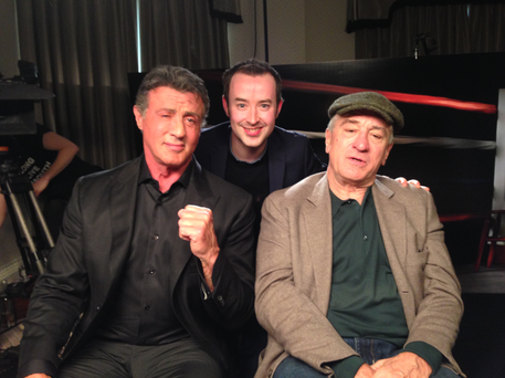 2FM DJ with Hollywood legends Sylvester Stallone and Robert De Niro in London's Dorchester Hotel.
