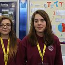 Aoife Ni Bhroin (15) and Soluna Ville (16) at the Young Scientist Exhibition. Photo: Mark McConville