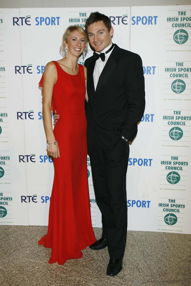 Popping the question: David Gillick with his fiancée Charlotte Wickham. KYRAN O'BRIEN